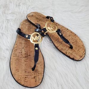 **Michael Kors Sz 9 Jelly & Cork Logo Cork Sandals